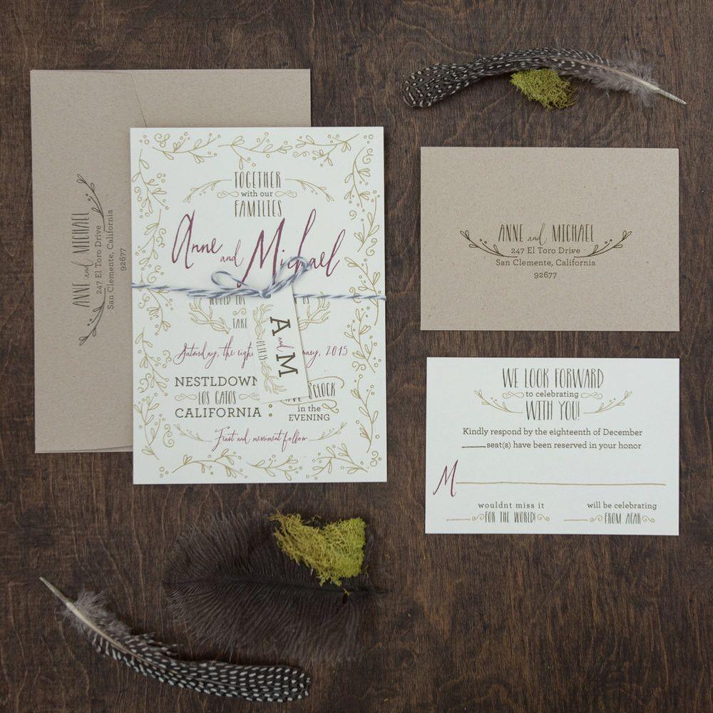 Antler Wedding Invitation Whimsical Hand Drawn Invitation Antler