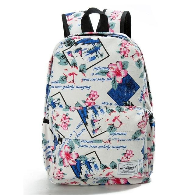 94f894be7d Miyahouse Fresh Style Women Backpacks Floral Print Bookbags Canvas Backpack  School Bag For Girls Rucksack Female Travel Backpack