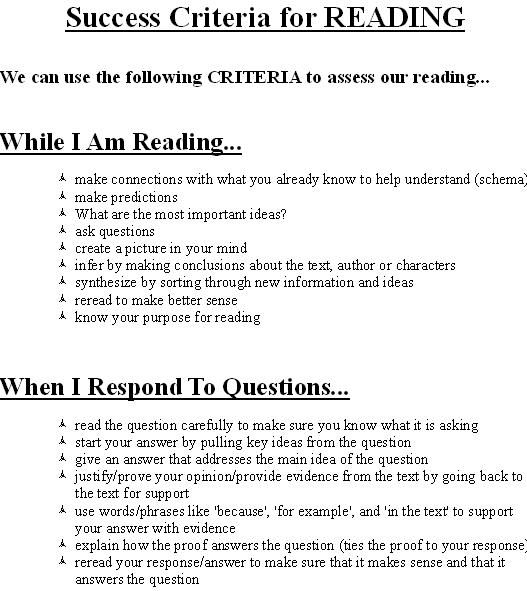 Success Criteria for Reading0jpg Classroom Ideas Pinterest - how do you evaluate success
