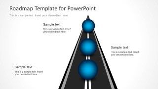 Roadmap design for PowerPoint presentations with spheres and road illustration created with PowerPoint shapes #PowerPoint #timelines