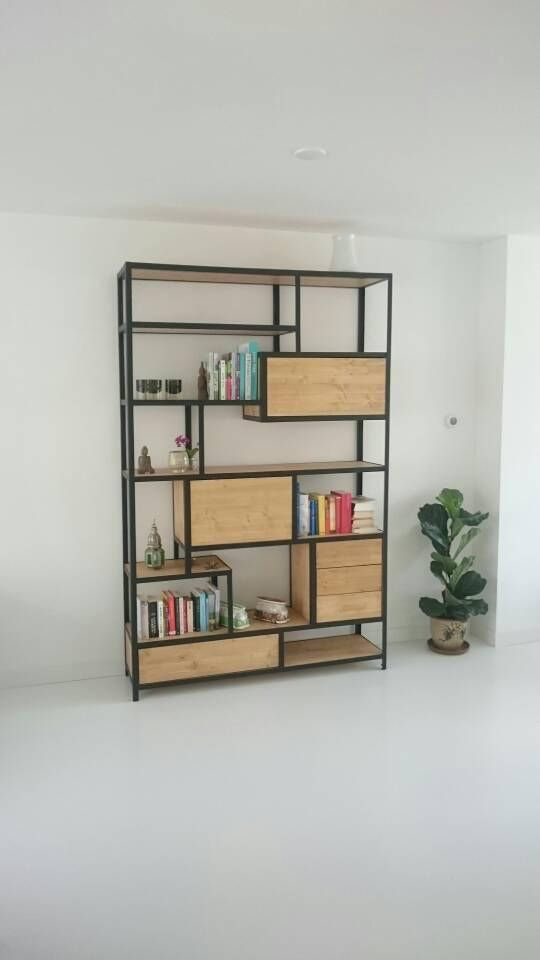 Kast Stalen Frame.Steel And Wood Cabinet Interior Design Muebles Hierro Y Madera