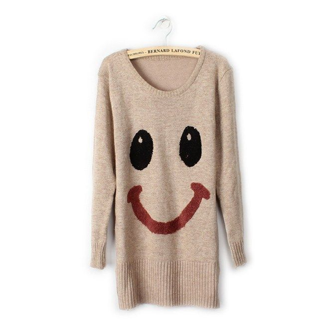 Winter Smily Face Cartoon Cute Sweater 3 Colors