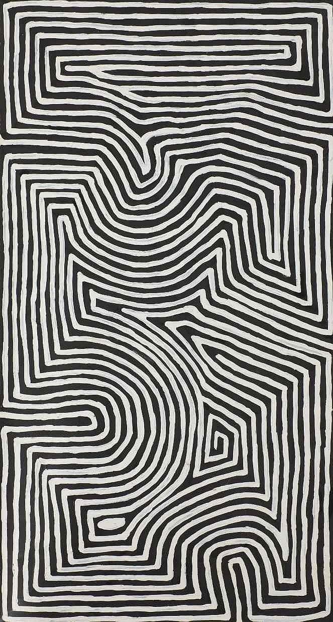 Black and white design aboriginal art by george tjungurrayi
