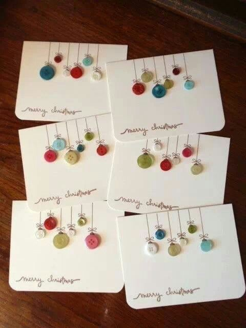 Tarjetas de Navidad Con botones manualidades Pinterest