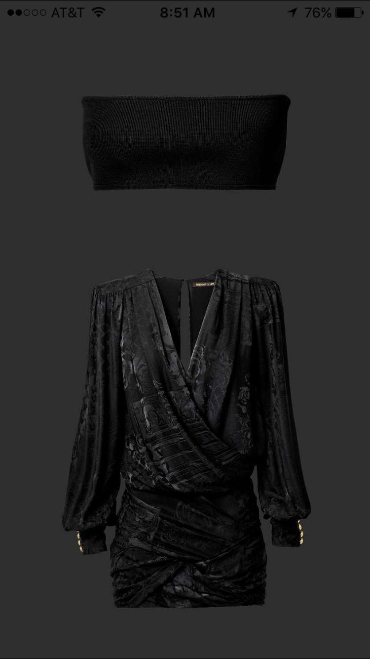 Jacquard weave silk dress, ribbed bandeau #balmain #hm