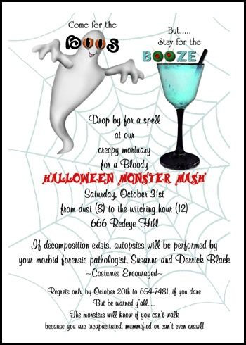 Freaky Boos and Booze Party Invites for Halloween Number 7801IBU