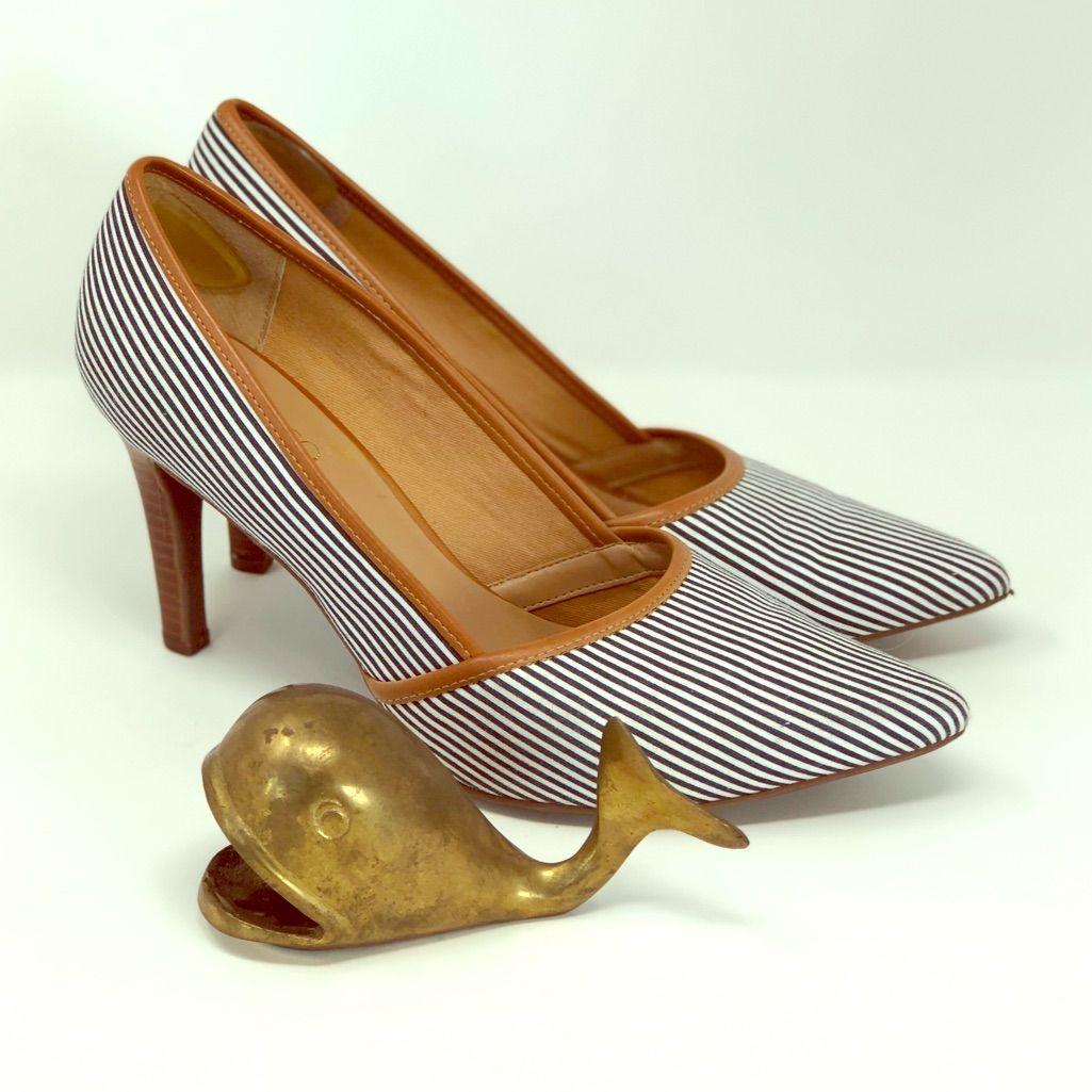 Franco Sarto Blue Striped Heels ⚓️