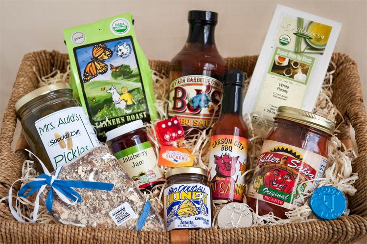Food and wine gift baskets featuring Made in Nevada items from Napa-Sonoma Grocery Company Reno.