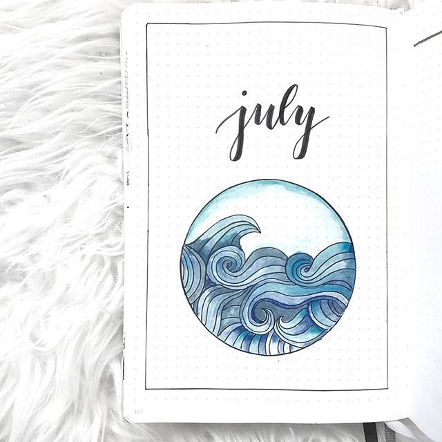 bullet journal cover page July #augustbulletjournal