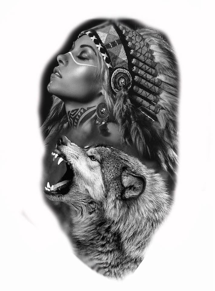 Tatuaje Lobo Blanco Y Negro Sfb