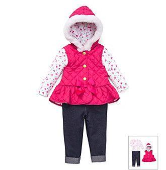 Little Me® Baby Girls' Pink Ditsy Floral Vest and Leggings Set
