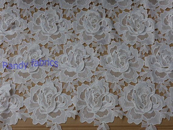 Tela del vestido de encaje blanco telas 110cm por Randyfabrics