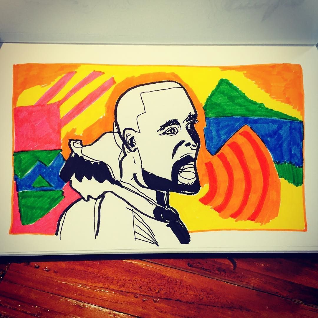 Work copyright  Andrew Oyl Miller oylmiller@gmail.com Society6 Shop - Instagram - Facebook Sketch of Pablo. #kanyewest #pablo #lifeofpablo #music #drawing #art #illustration #instaartist #oylmiller #sketchbook