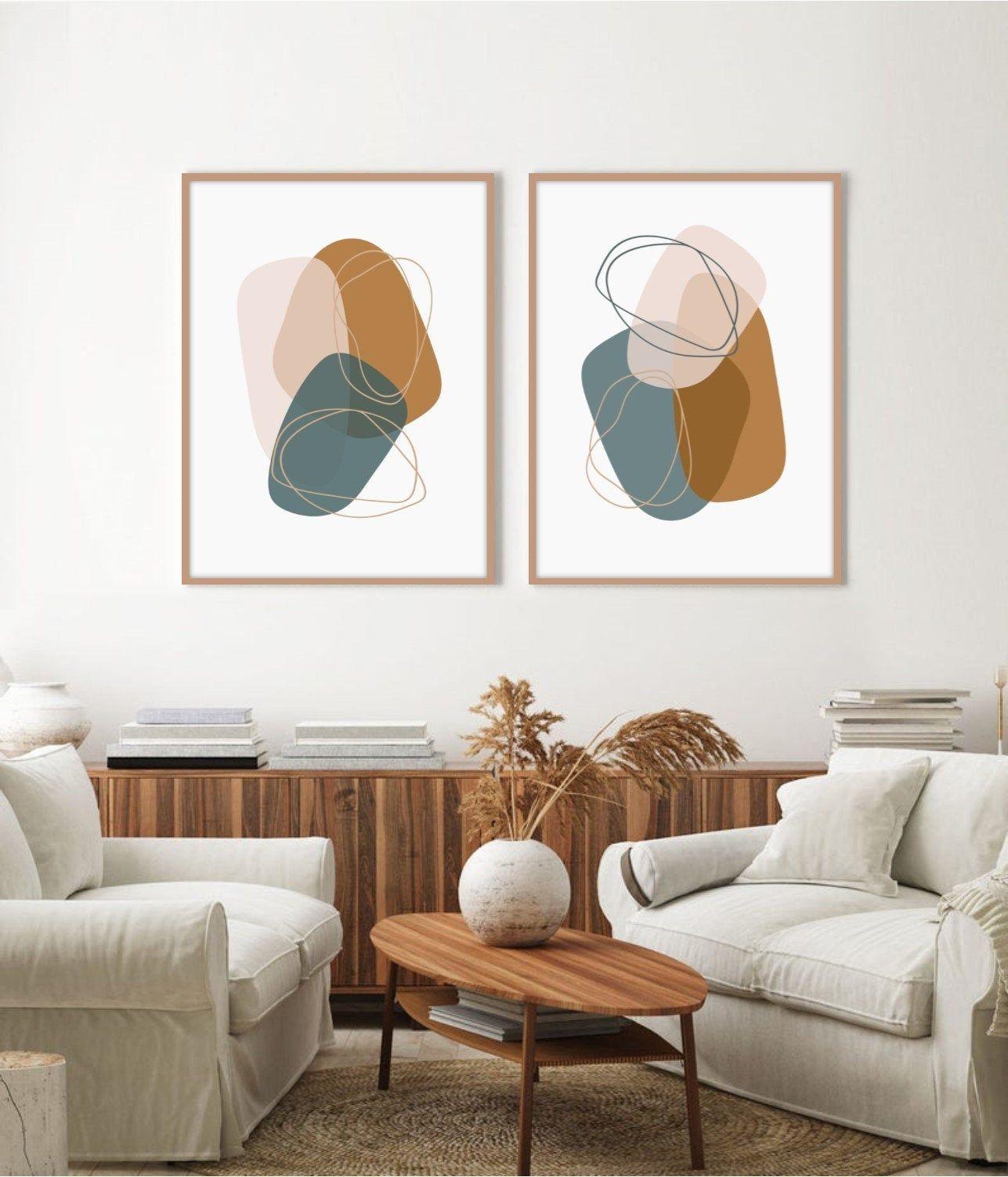 Set Of 2 Prints Abstract Wall Art Print Set Two Prints Wall Etsy Affordable Wall Art Living Room Art Art Print Set