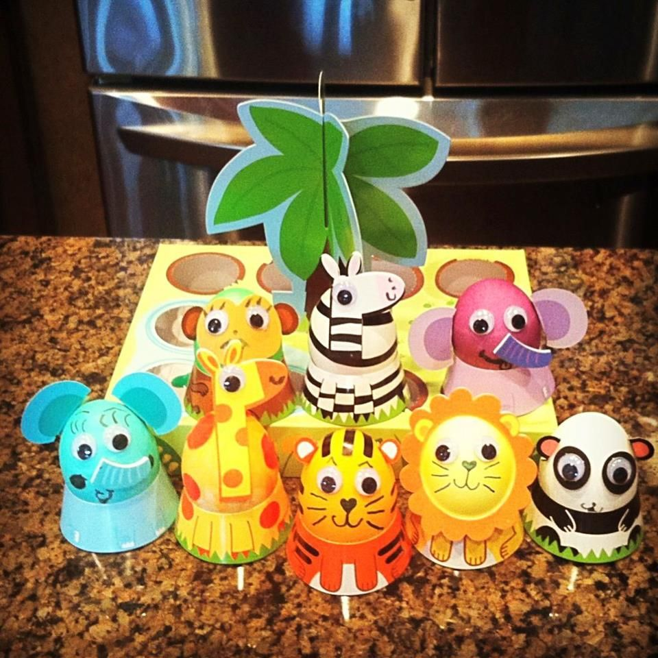 My little Easter Egg Jungle :) So fun to make! Love these animals!