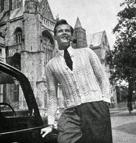 A young Roger Moore modelling knitwear! 1953