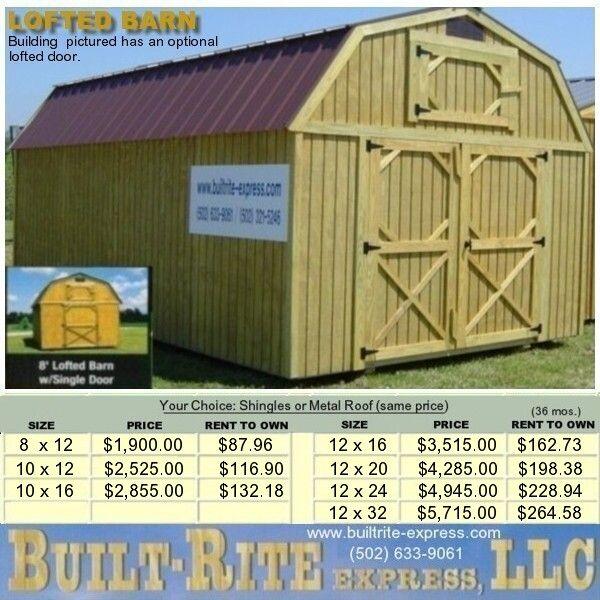 Built-Built Express, LLC Portable Buildings - Lofted-Barn ...