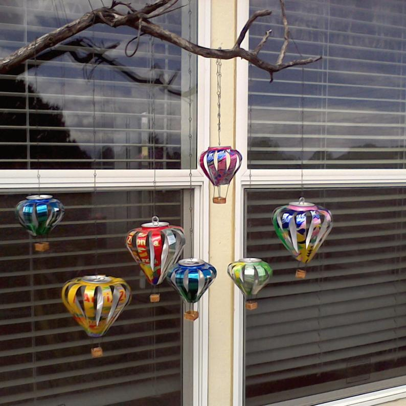 X-Large, Large, Medium and Small Recycled Aluminum Can Hot Air Balloon Decorations #recycledart