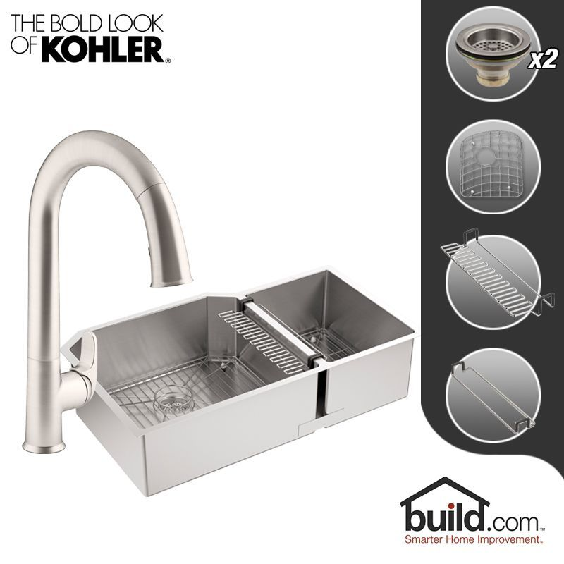 Kohler K 5282 K 72218 Strive Kitchen Kit With 35 1 2 Stainless Steel Double Bas Double Basin Kitchen Sink Kitchen Faucet Double Basin
