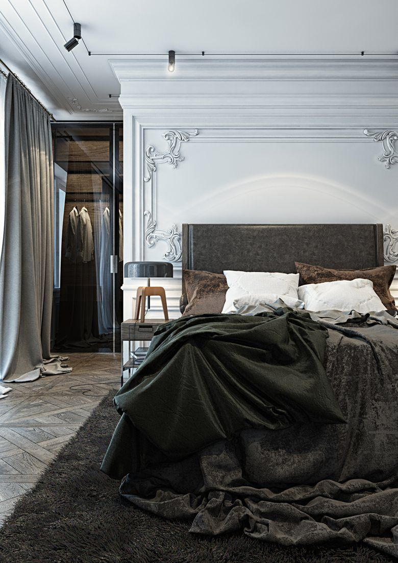 Moody bedroom with beautiful wall details and solid dark textiles ...