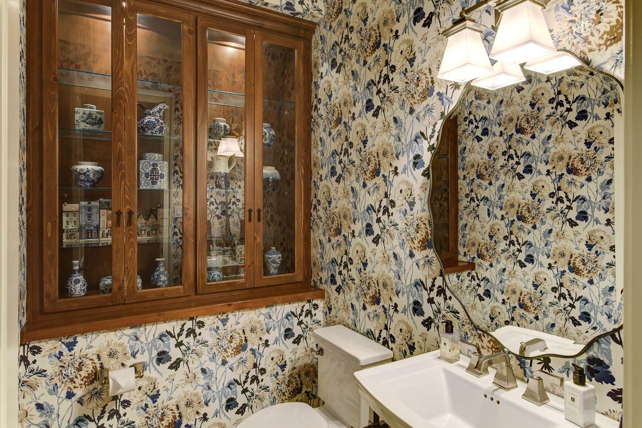 powder room floral wallpaper interior design raleigh nc