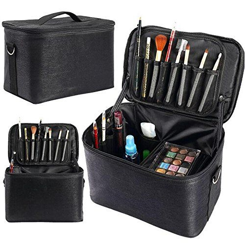 e6fddc27163b HOYOFO Makeup Case with Brush Holders Cosmetic Train Case Travel ...