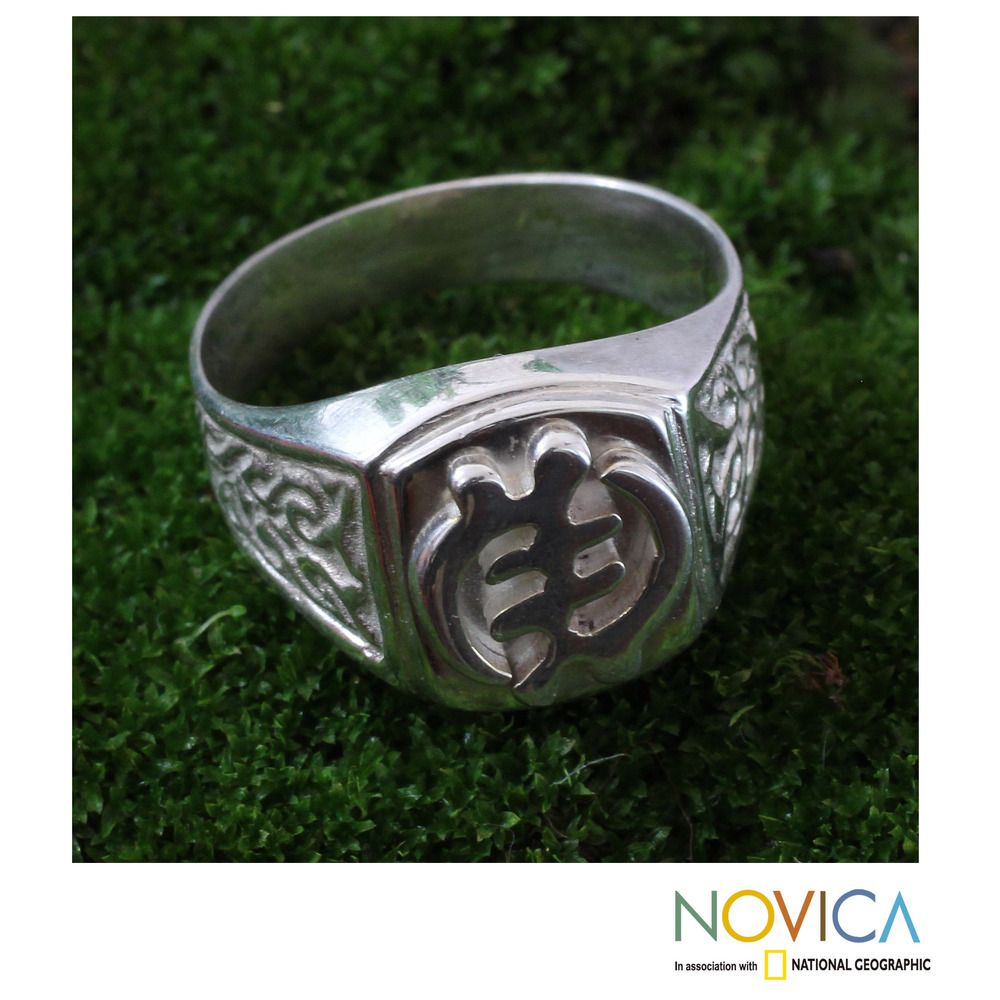 Handcrafted Men's Sterling Silver 'God Is Supreme' Ring