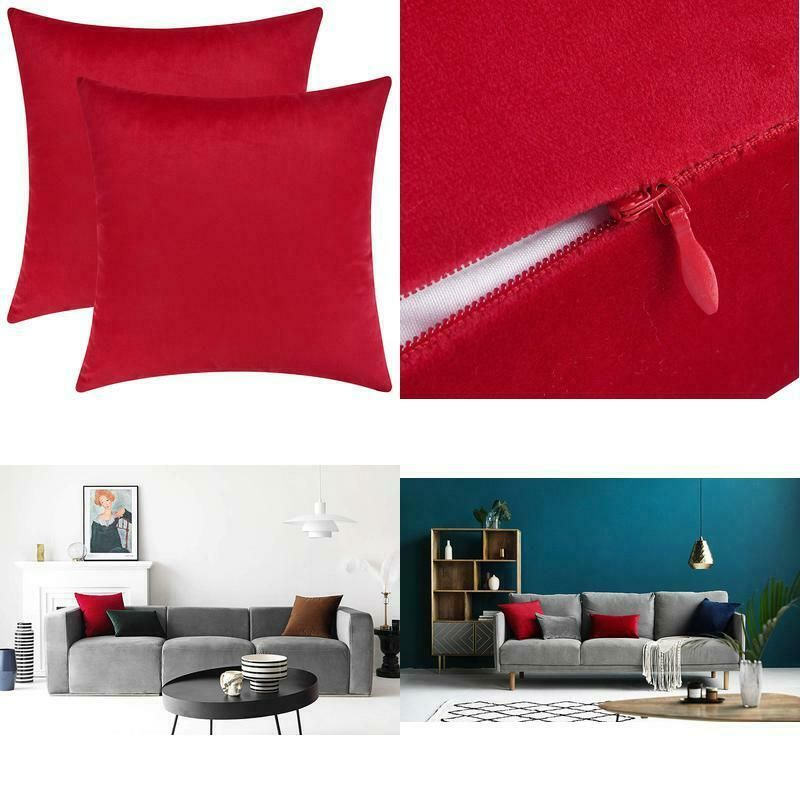Mixhug Set of 2 Cozy Velvet Square Decorative Throw Pillow Covers for Couch and