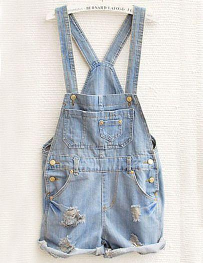 6e13fe5689c Sky Blue Overalls Pocket Jumpsuit - Sheinside.com