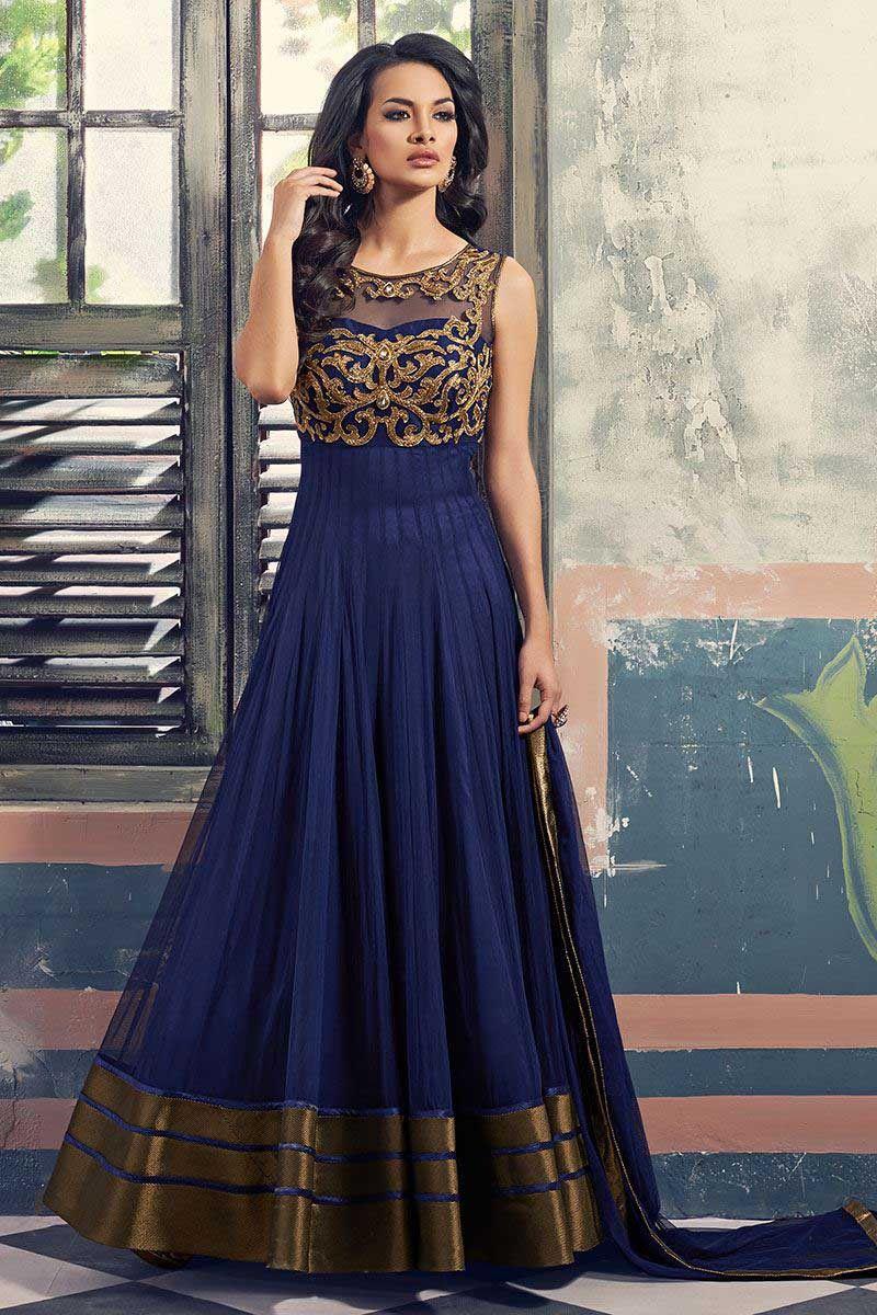 5146401de05 Blue Georgette Anarkali Suit