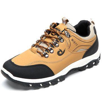 Slip On SneakerMen's Outdoor Shock-Absorbing Shoe Hiking Metal Buckle Slip Resistant Sneakers