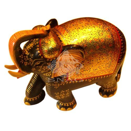 WOODEN ELEPHANT VERY FINE GOLD PAINTING HOME DÉCOR 21X24 CMS