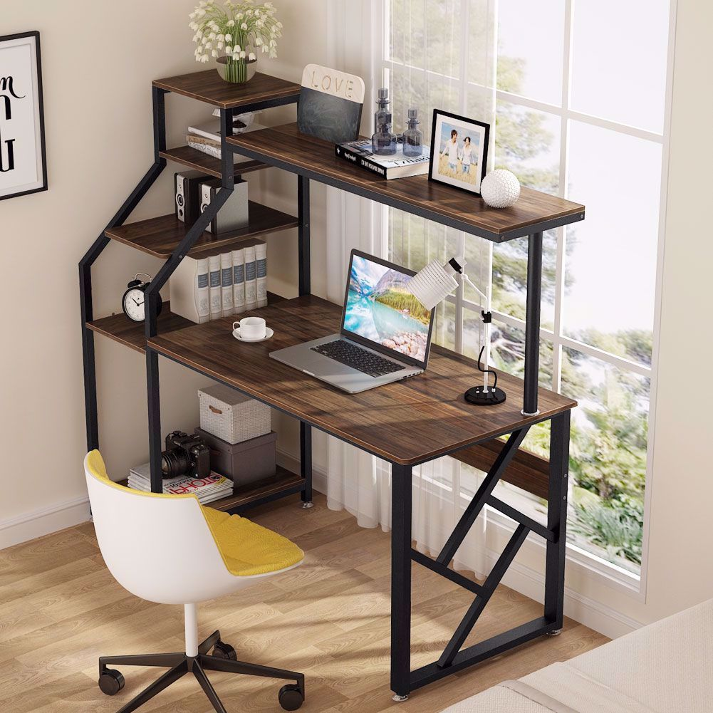 Computer Desk With 4 Tier Storage Shelves 60 Inch Large Rustic Office Desk Computer Table Office Desk Designs Computer Desks For Home Rustic Office Desk