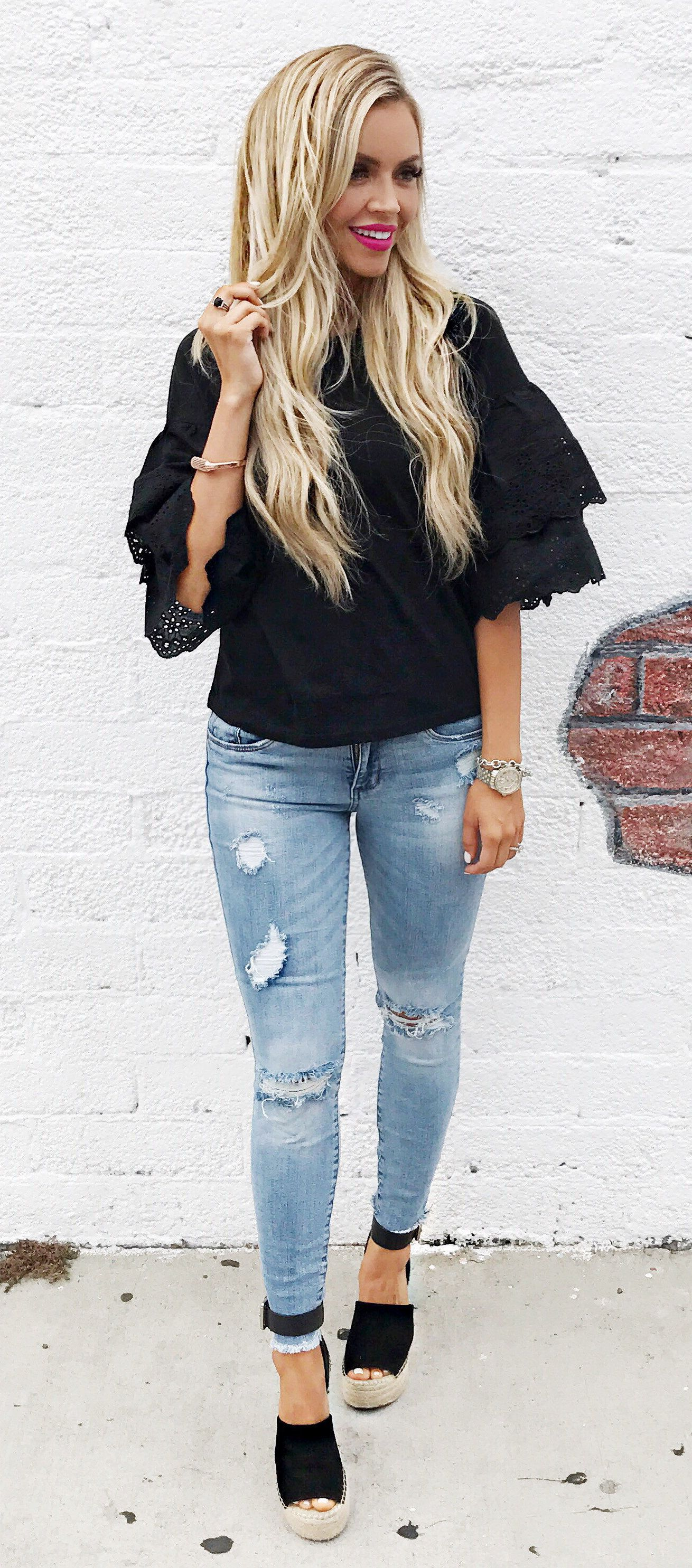 summer outfits Black Ruffle Top +