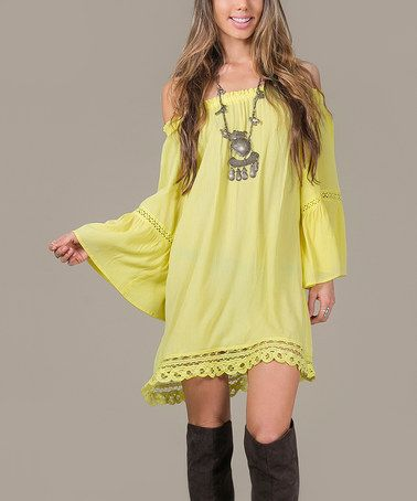 """Another great find on #zulily! Yellow Crochet-Trim Off-Shoulder Shift Dress #zulilyfinds I wish I could pull this off!! But this line's """"large"""" is a 9-11.. yikes."""