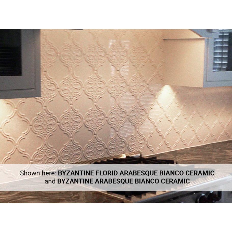 Byzantine Florid Arabesque Bianco Ceramic Wall Tile Lantern Arabesque Tile Arabesque Tile Bathroom Kitchen Backsplash Designs