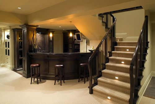 Gorgeous Bat Round Bar Lights On The Stairs Hubby S Mancave Do It Yourself Home Ideas