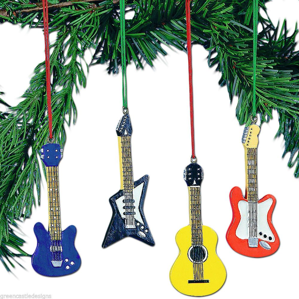 Musical instruments ornaments - Guitar Christmas Tree Ornaments 4 Pc Set Of Resin Music Rock Star Instruments