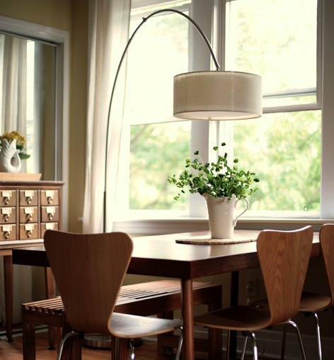 Arc Lamp Over Dining Table
