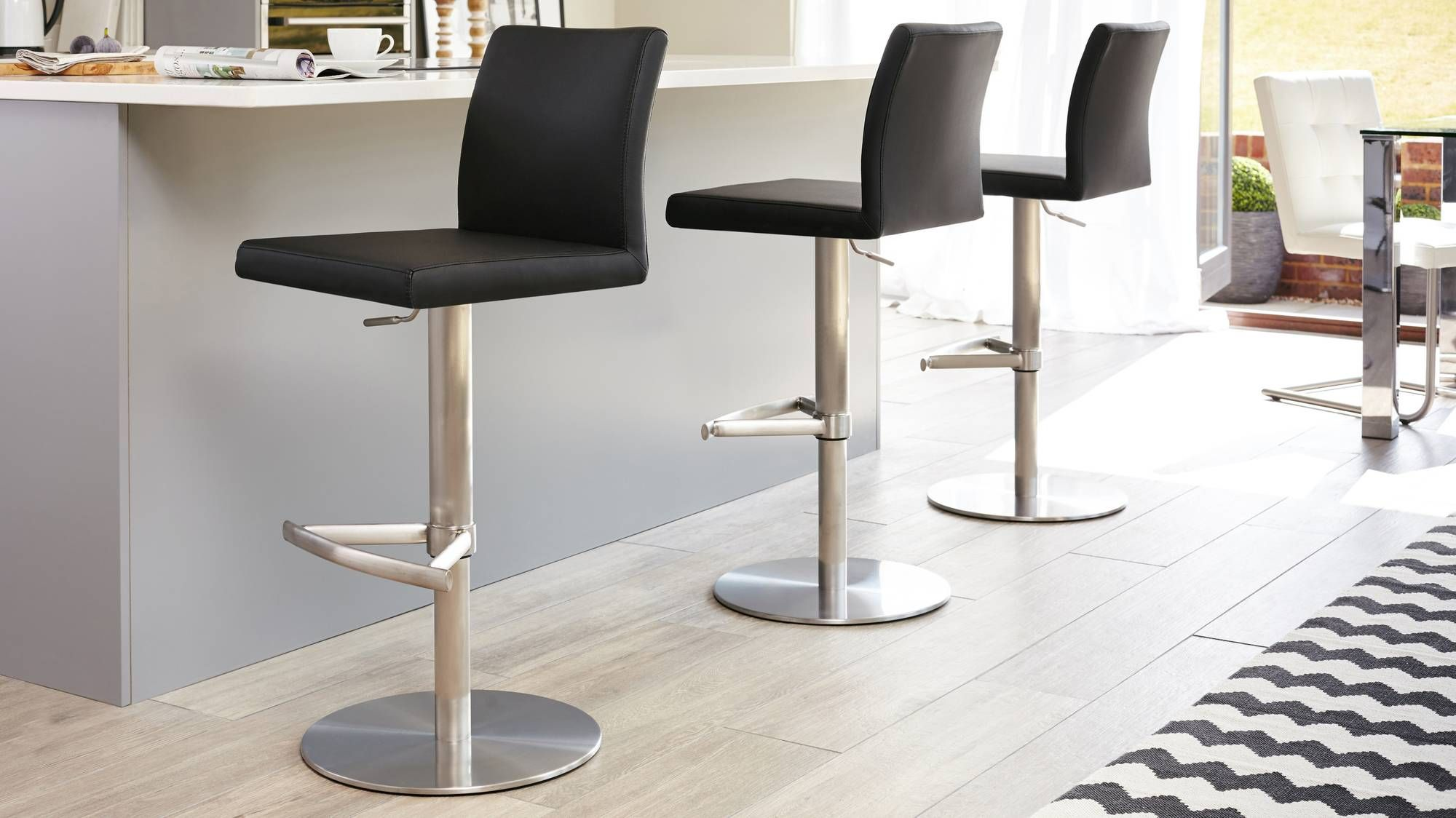 Elise Stainless Steel Gas Lift Bar Stool Contemporary