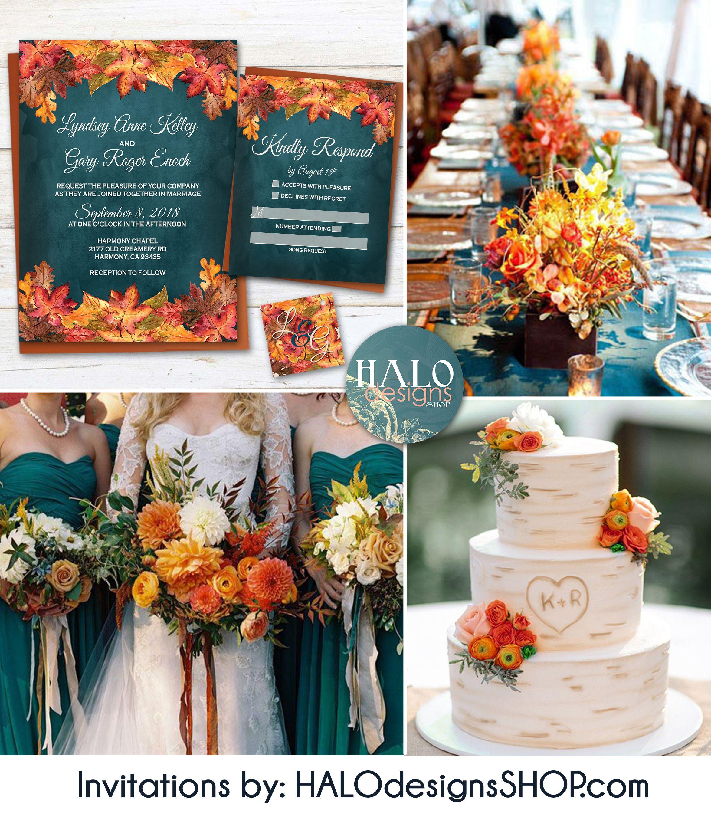 Rustic Fall Wedding invitation, Orange & Teal Wedding