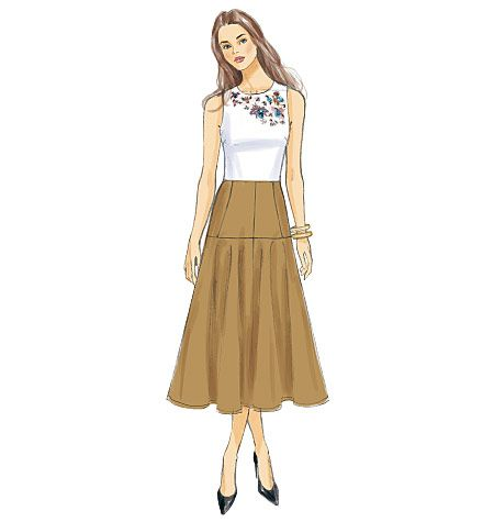 Fitted at the waist, then flared at the hips to a chic midi length ...