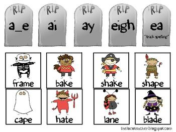 {freebie} a super cute word sort with tombstones and the long a sound!