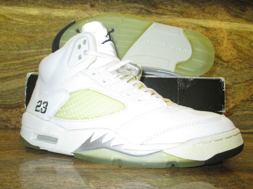 6d89d639a69f 2000 Nike Air Jordan 5 V Retro 3 4 Hi OG SZ 9.5 White Metallic ...