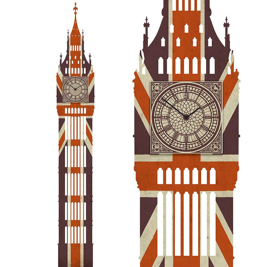 Union jack big ben wall clock union jack and big ben union jack big ben wall clock amipublicfo Images