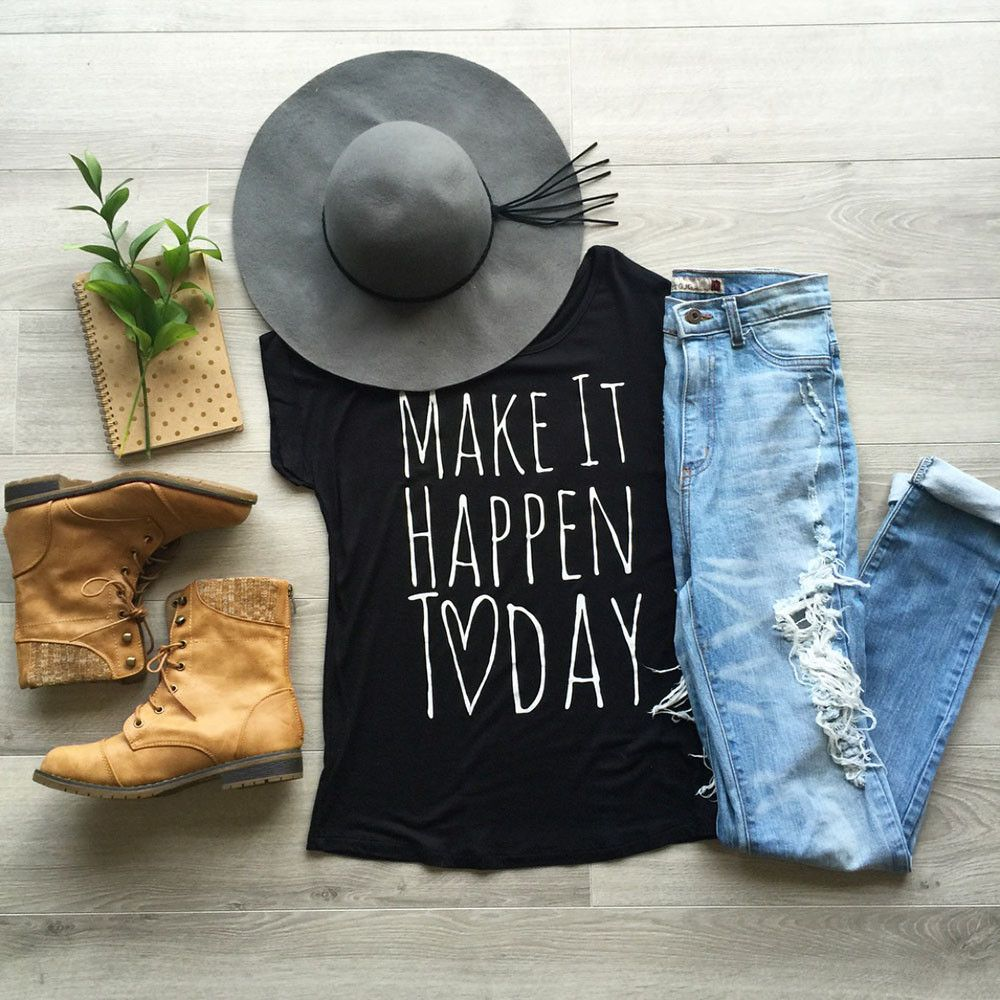 Make It Happen Today Black Short Sleeve Graphic Tee