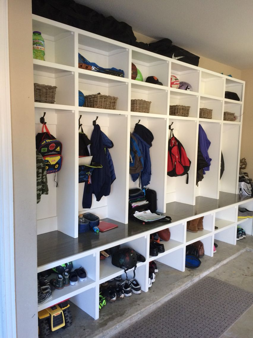 Garage Cubbies 6 Lockers One For Every Family Member 12 5 Feet Long 8 Feet Tall Base Is 24