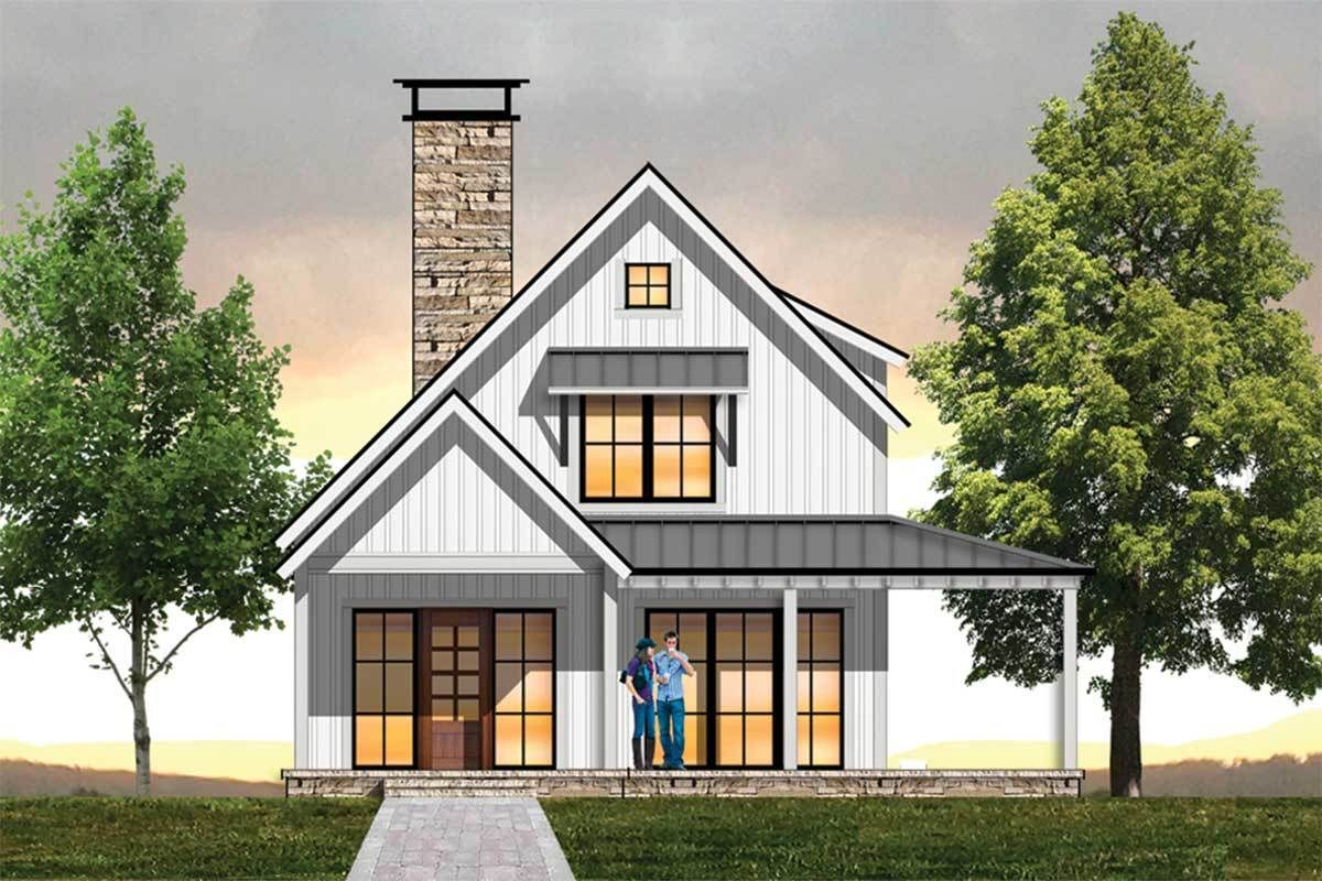 Plan 18853CK: Cozy Farmhouse Plan with Upstairs Loft | Plan maison, Maison