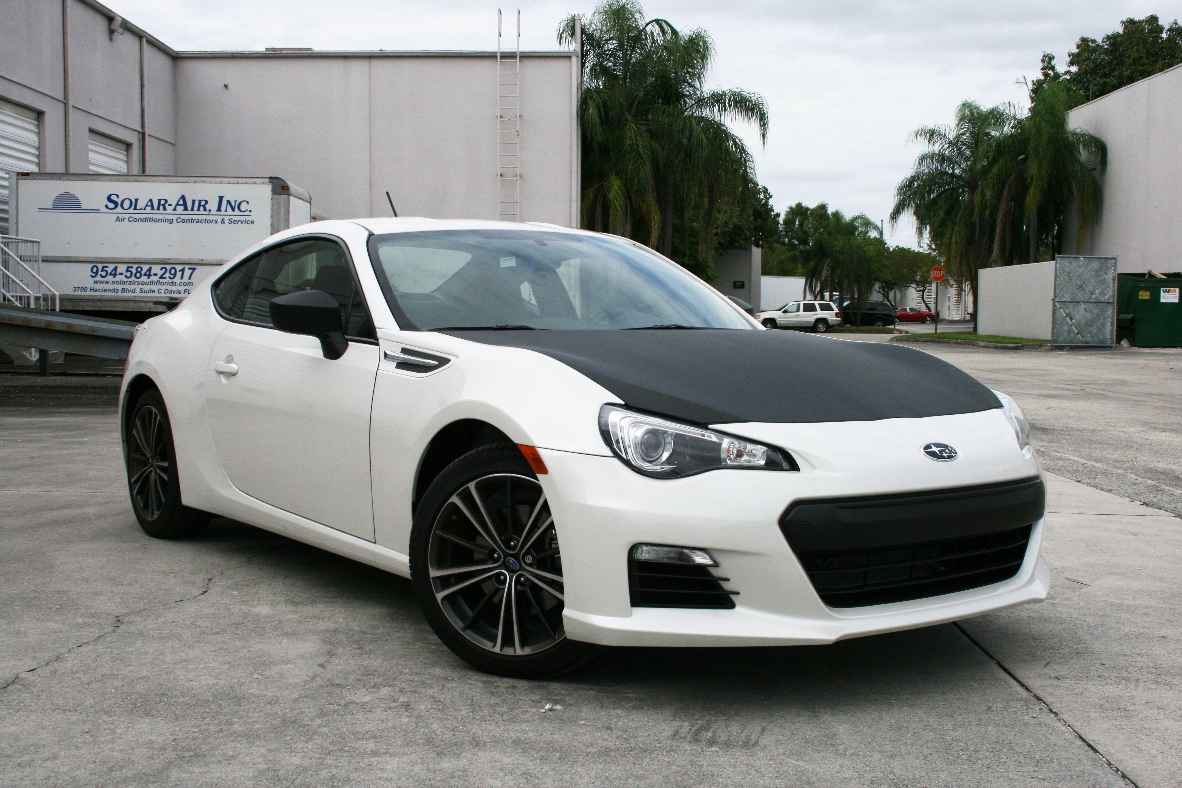 Miami subaru brz custom carbon fiber wrapped hood mirrors http carwrapsolutions
