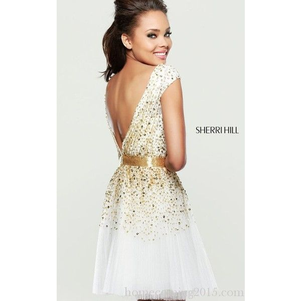 Ivory Sherri Hill 2840 Tulle Beads Party Dress Chic (1,395 CNY) via  Polyvore · Gold Homecoming ...